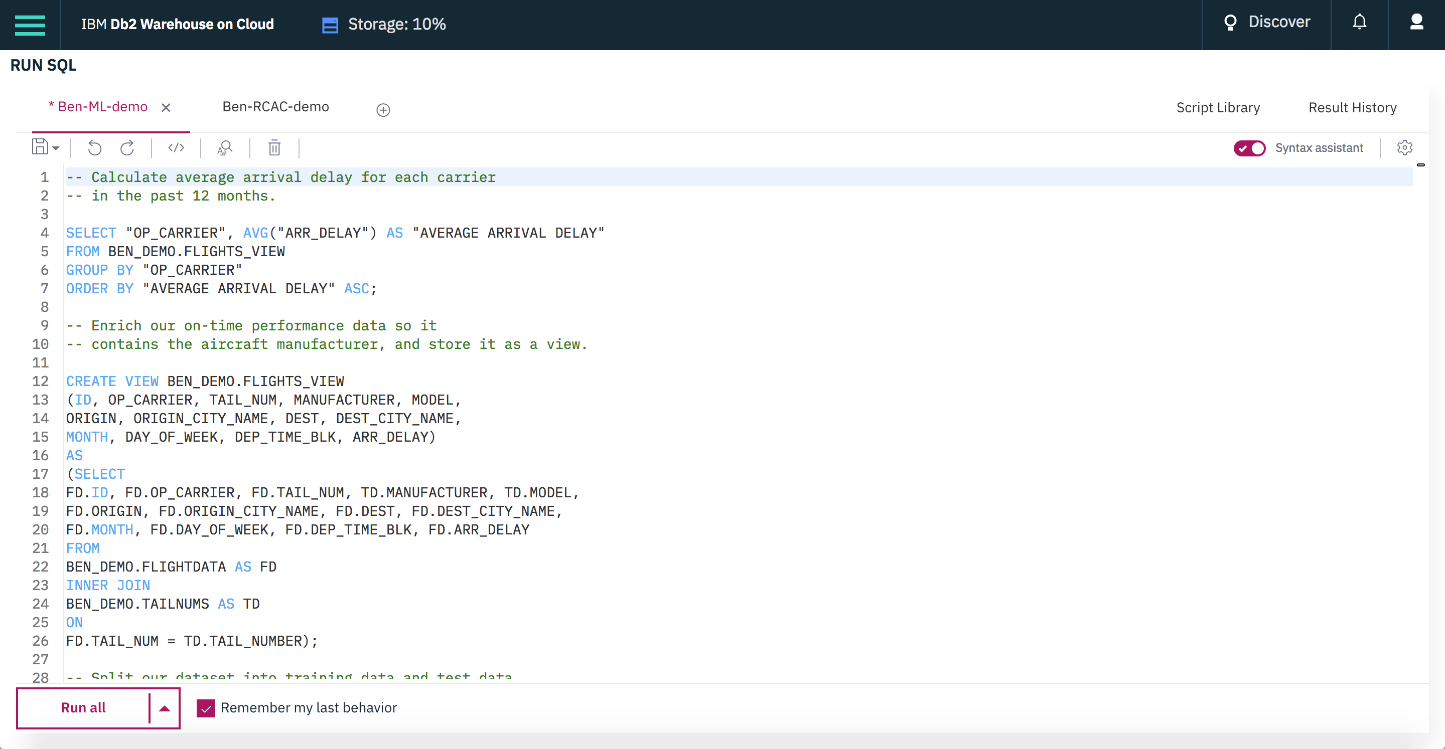 Use the built-in SQL editor to run SQL statements against your data and view the results.